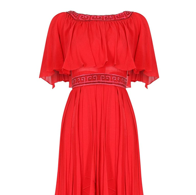 Ted Lapidus 1970s Flame Red Haute Couture Silk Dress For Sale 1