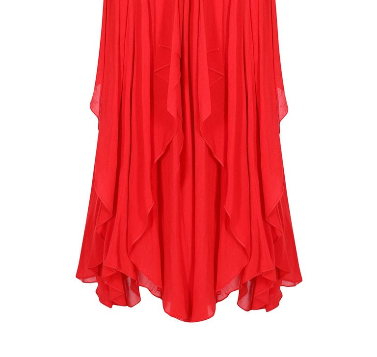 Ted Lapidus 1970s Flame Red Haute Couture Silk Dress For Sale 2