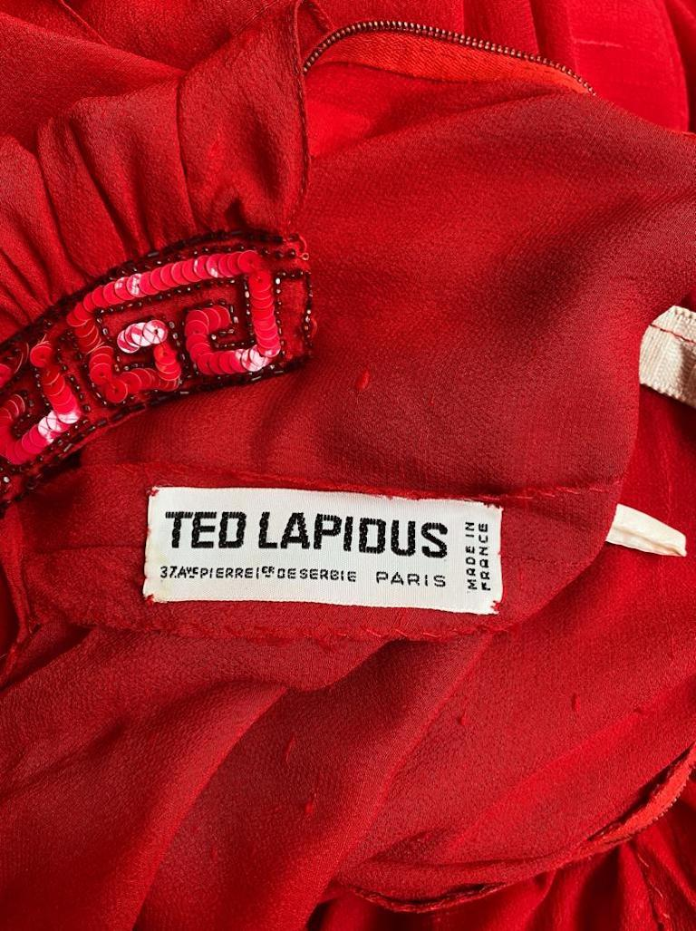 Ted Lapidus 1970s Flame Red Haute Couture Silk Dress For Sale 3