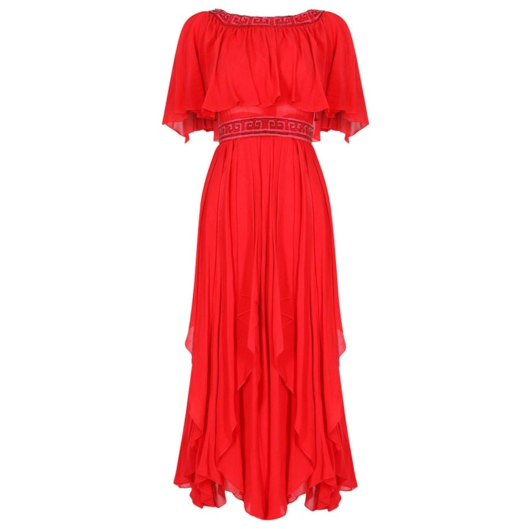 Ted Lapidus 1970s Flame Red Haute Couture Silk Dress For Sale