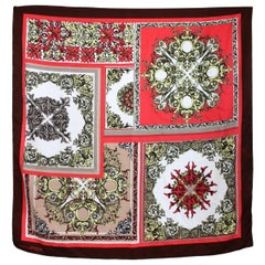 Ted Lapidus Brown Red Floral Scarf 1980s