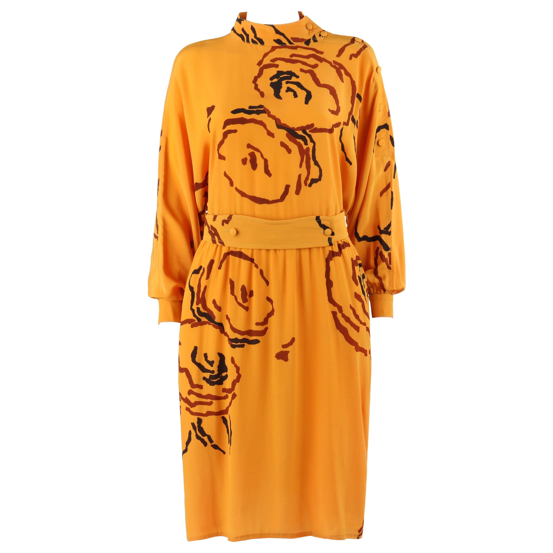 TED LAPIDUS c.1980's Saffron Orange Peony Floral Silk Long Sleeve Dress & Belt
