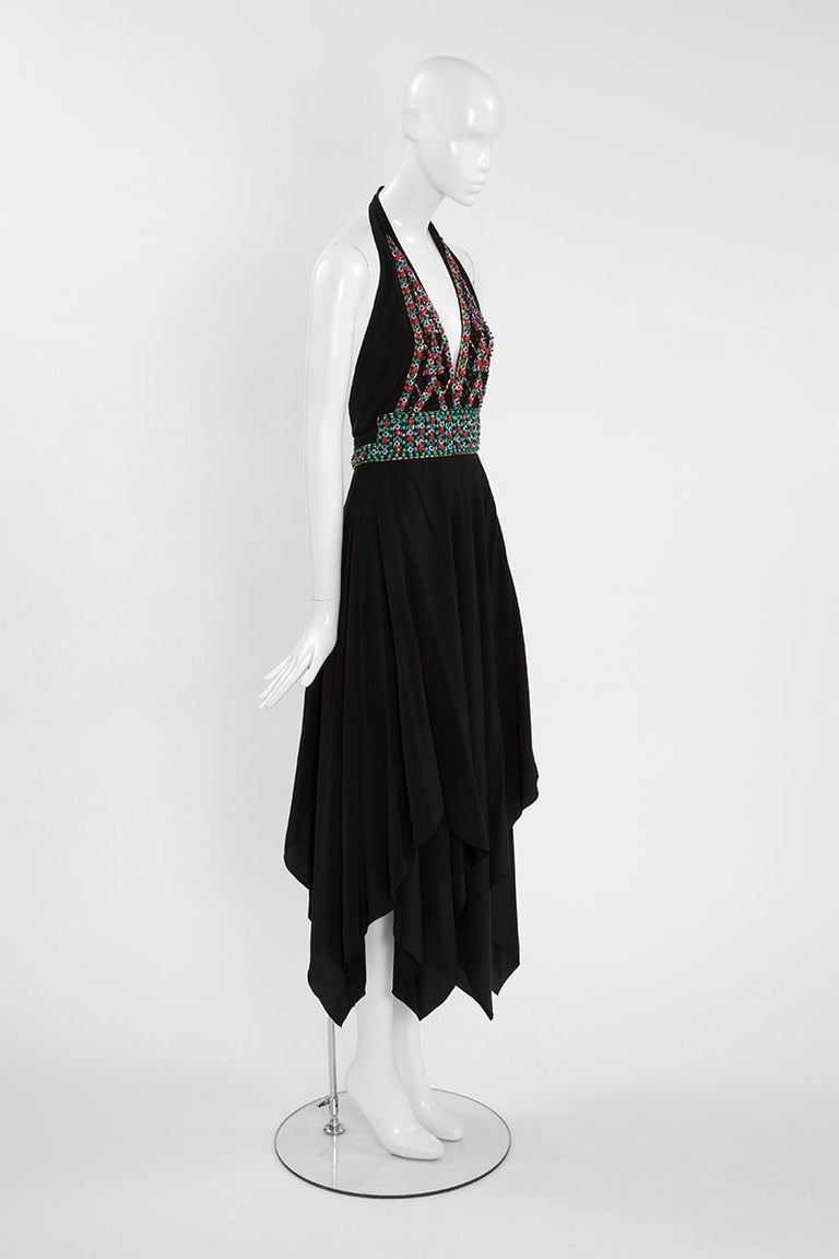 Ted Lapidus Couture Halterneck Midi Dress In Good Condition For Sale In Geneva, CH