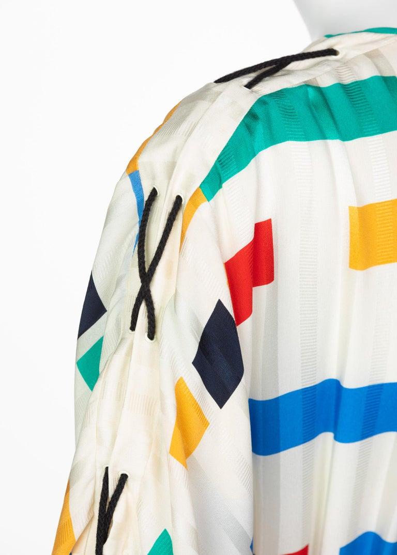 Ted Lapidus Ivory Color Block Silk Safari Dress, 1980s For Sale 5