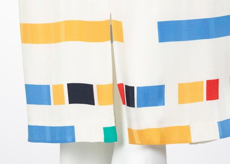 Ted Lapidus Ivory Color Block Silk Safari Dress, 1980s For Sale 6