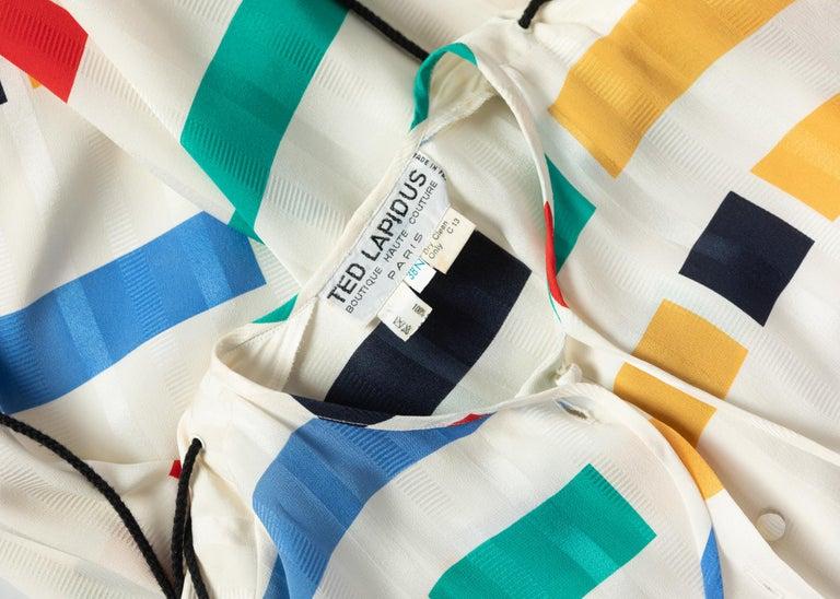 Ted Lapidus Ivory Color Block Silk Safari Dress, 1980s For Sale 7