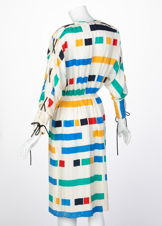Gray Ted Lapidus Ivory Color Block Silk Safari Dress, 1980s For Sale