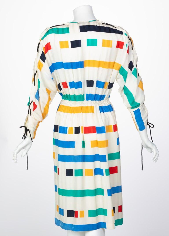 Ted Lapidus Ivory Color Block Silk Safari Dress, 1980s In Excellent Condition For Sale In Boca Raton, FL