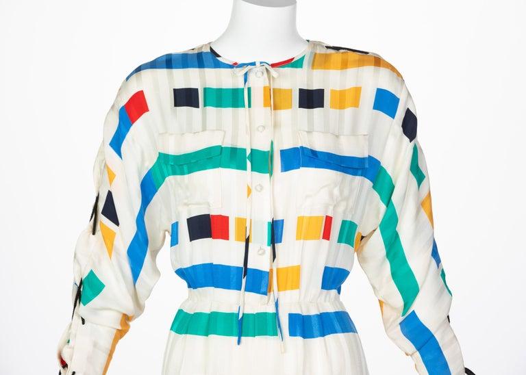 Women's Ted Lapidus Ivory Color Block Silk Safari Dress, 1980s For Sale