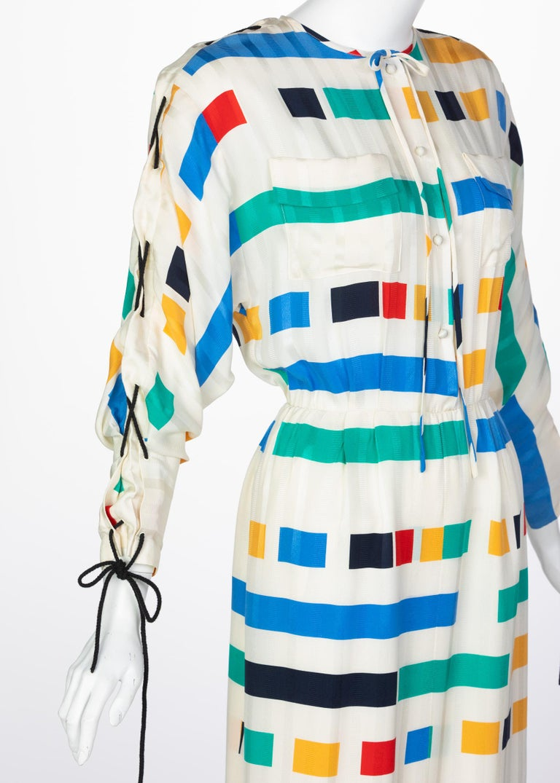 Ted Lapidus Ivory Color Block Silk Safari Dress, 1980s For Sale 1