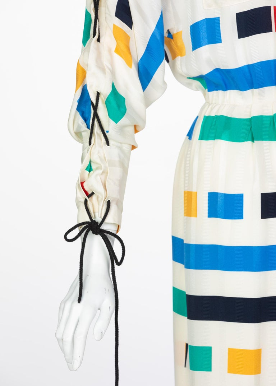 Ted Lapidus Ivory Color Block Silk Safari Dress, 1980s For Sale 2