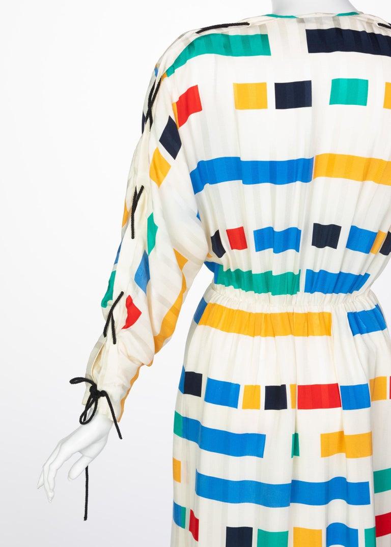 Ted Lapidus Ivory Color Block Silk Safari Dress, 1980s For Sale 3