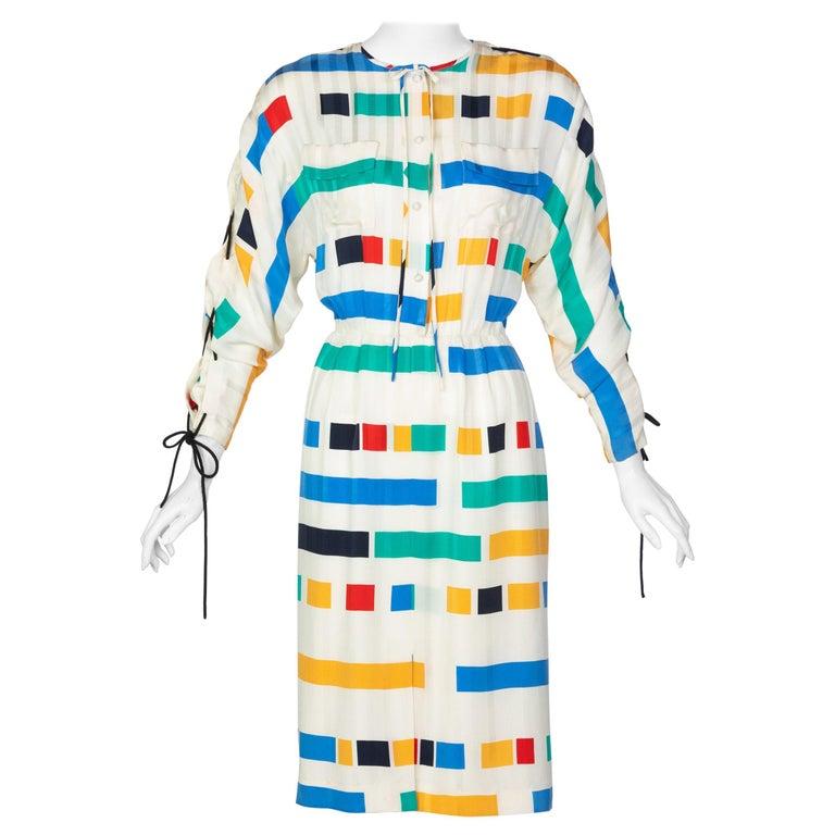 Ted Lapidus Ivory Color Block Silk Safari Dress, 1980s For Sale