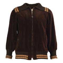 Ted Lapidus Mens 1970s Brown Corduroy Vintage Bomber Jacket with Knit Collar
