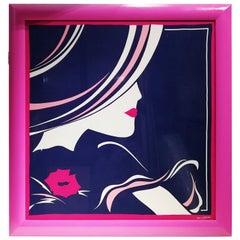 Ted Lapidus Paris Framed Silk Scarf, circa 1970