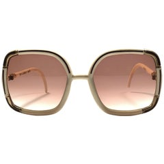 Ted Lapidus Paris Vintage Beige and Gold Sunglasses, 1970