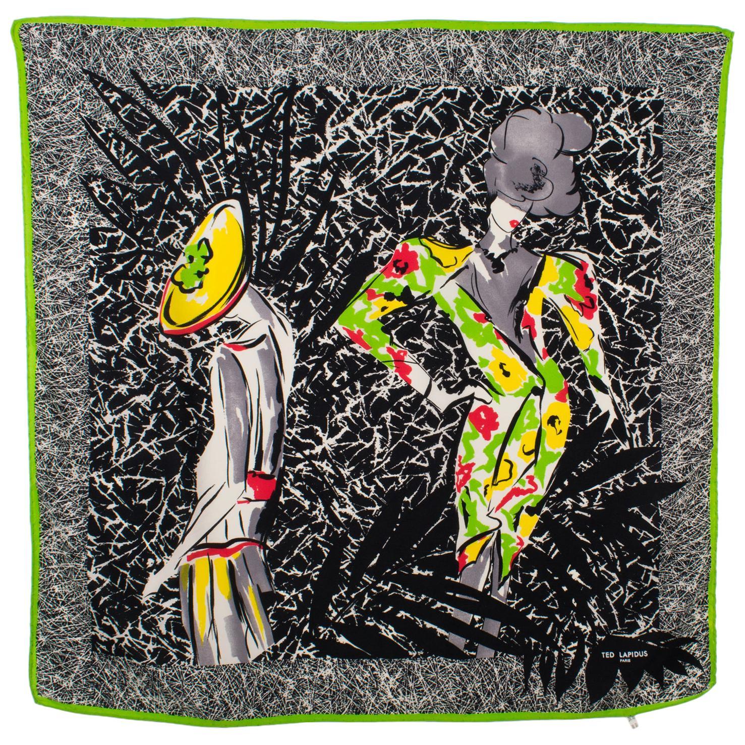 Ted Lapidus Silk Scarf Multicolor Fashion Models Print