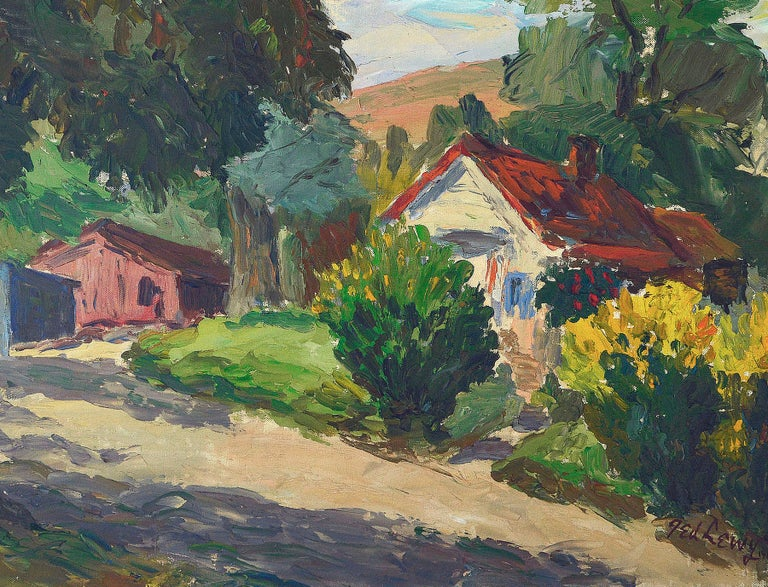 Novato Afternoon Country Landscape - American Impressionist Painting by Ted Lewy