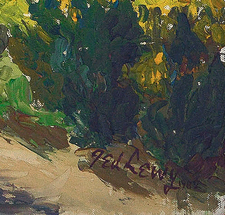 Novato Afternoon Country Landscape - Gray Landscape Painting by Ted Lewy