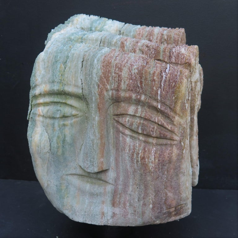 Contemporary Ted Ludwiczak Banded Stone Head For Sale