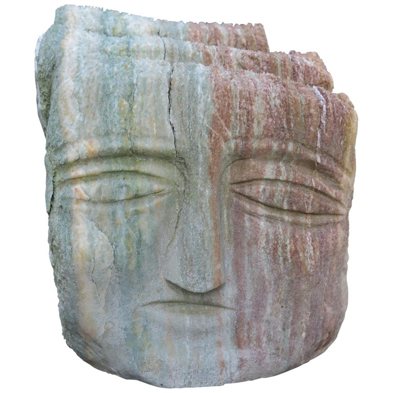 Ted Ludwiczak Banded Stone Head For Sale