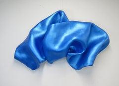 Sinuosity in blutonium (wall sculpture minimalist monochrome blue curvy art )