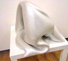 Sinuosity in chiffon metallique (pop sculpture minimalist curvy white textile)
