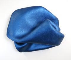 Sinuosity in mid blue (wall sculpture minimalist classic blue curvy art pedestal