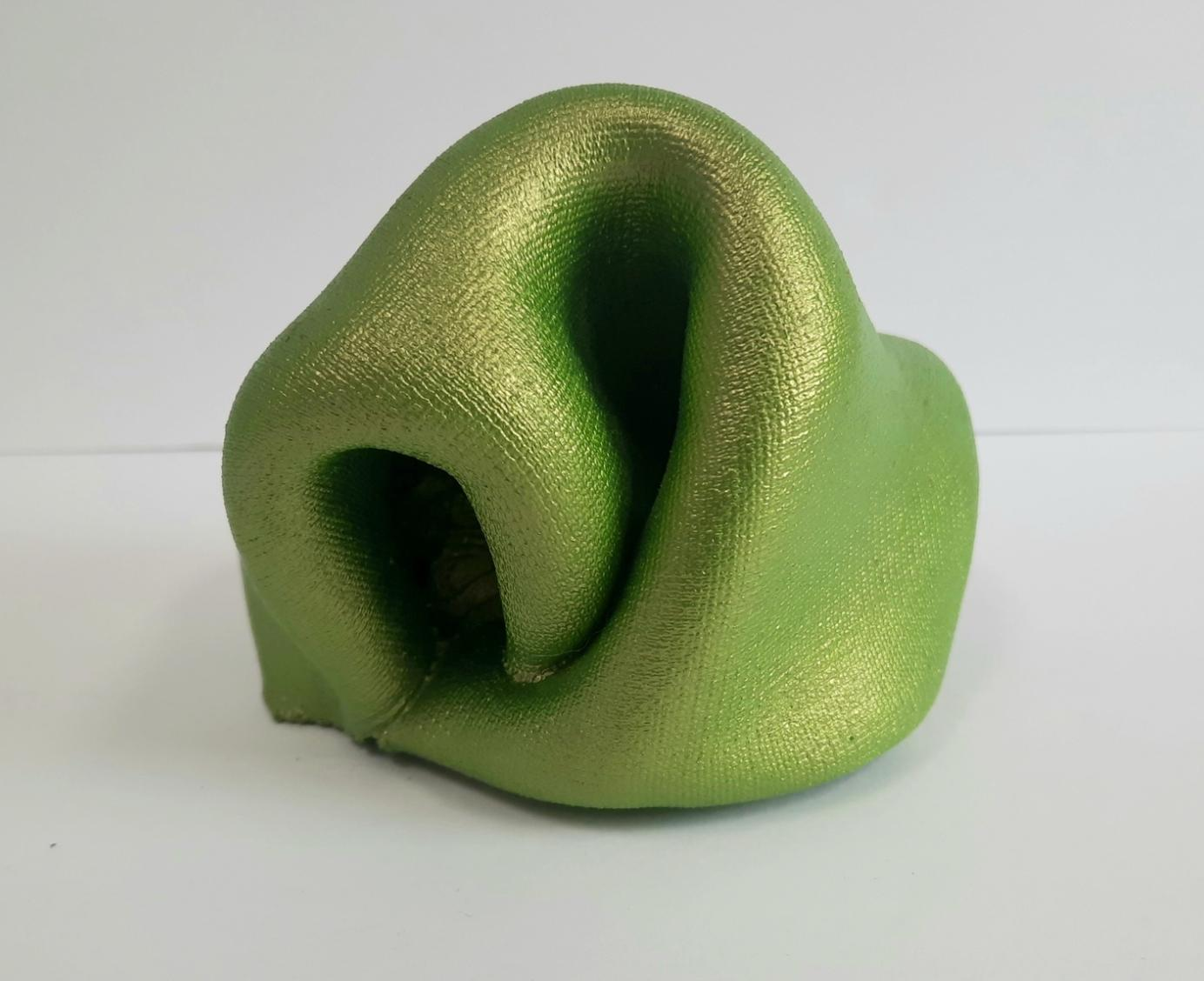 Sinuosity mini in Absinthe (pop green metallic smooth small sculpture abstract)