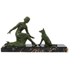 TEDD French Art Deco Sculpture, Lady and German Shepherd, 1930s