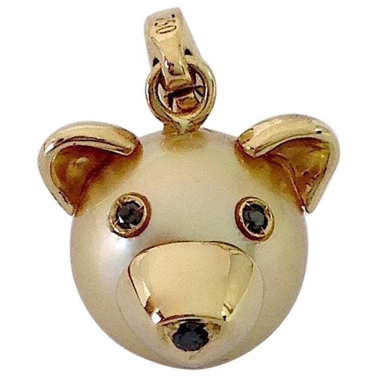 Teddy Bear Black Diamond 18 Karat Gold Charm or Pendant Necklace For Sale