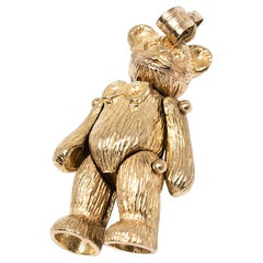 Teddy Bear Charm that Articulates/Moves in 14 Karat Yellow Gold