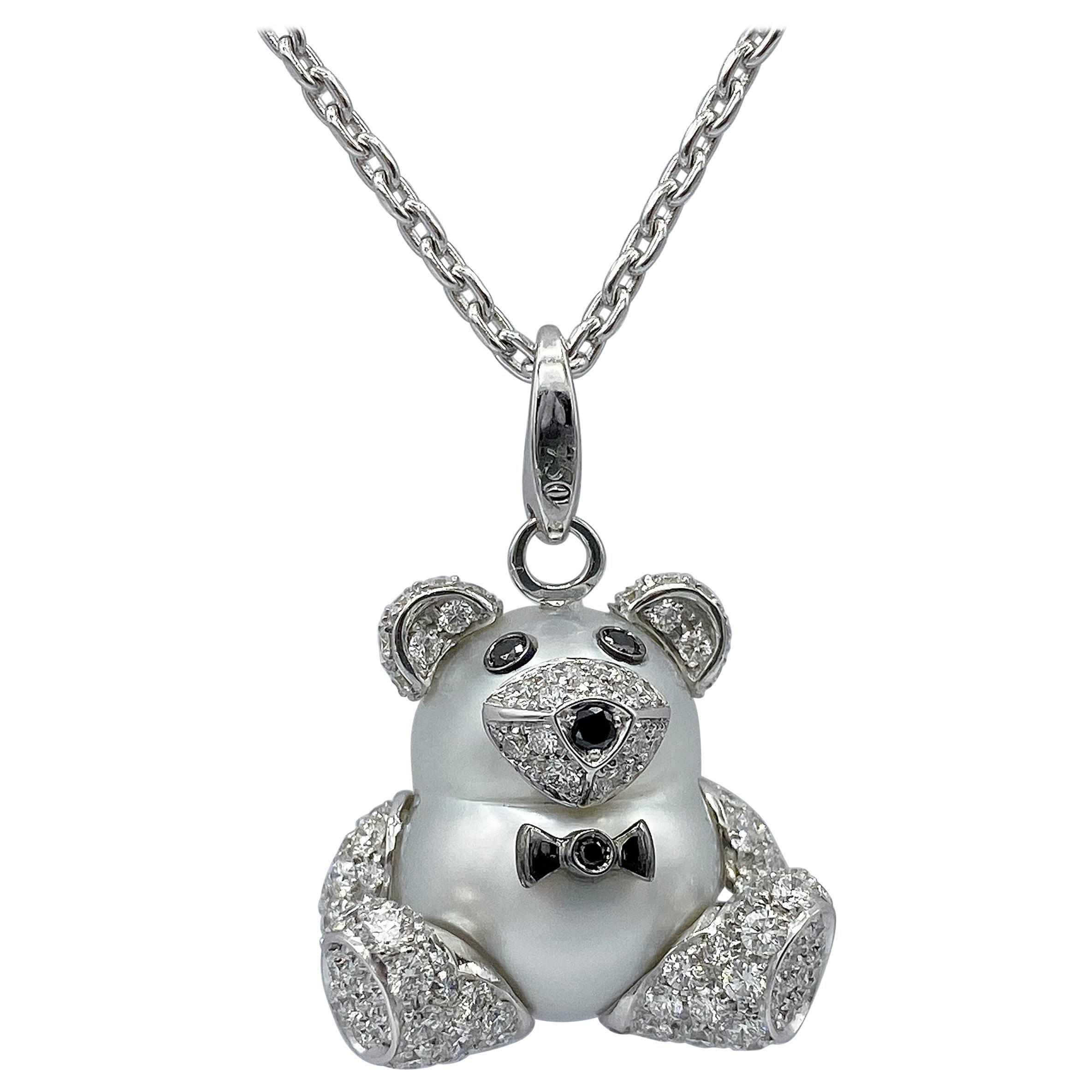 Teddy Bear Diamond Australian Pearl 18 Karat Gold Pendant Necklace Charm