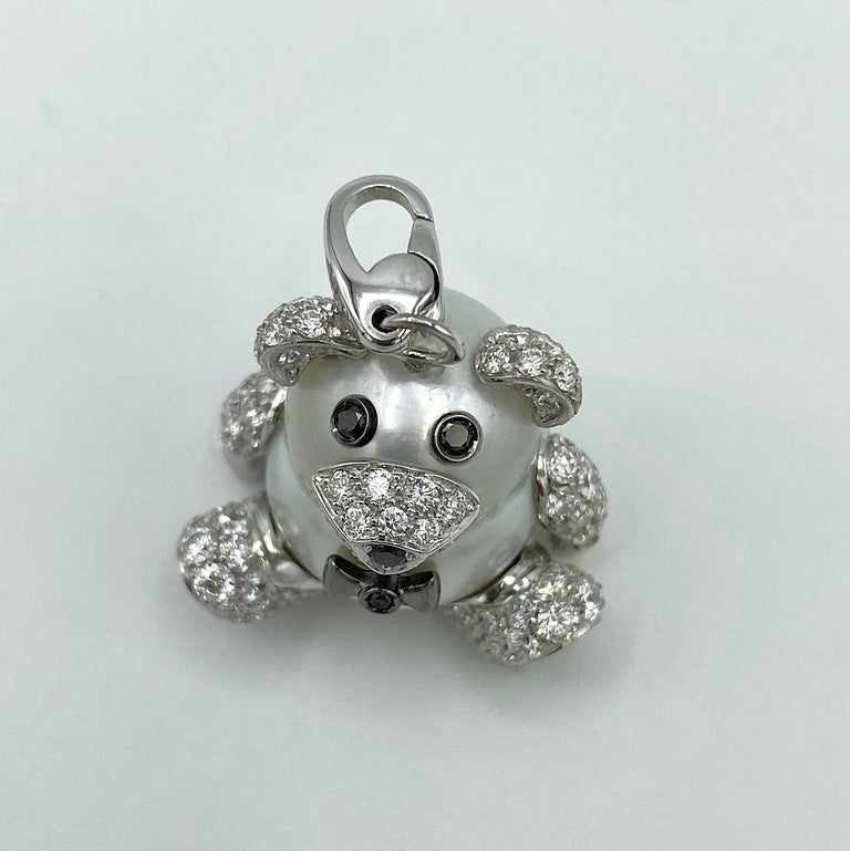 Teddy Bear Diamond Australian Pearl 18 Karat Gold Pendant Necklace Charm For Sale 5