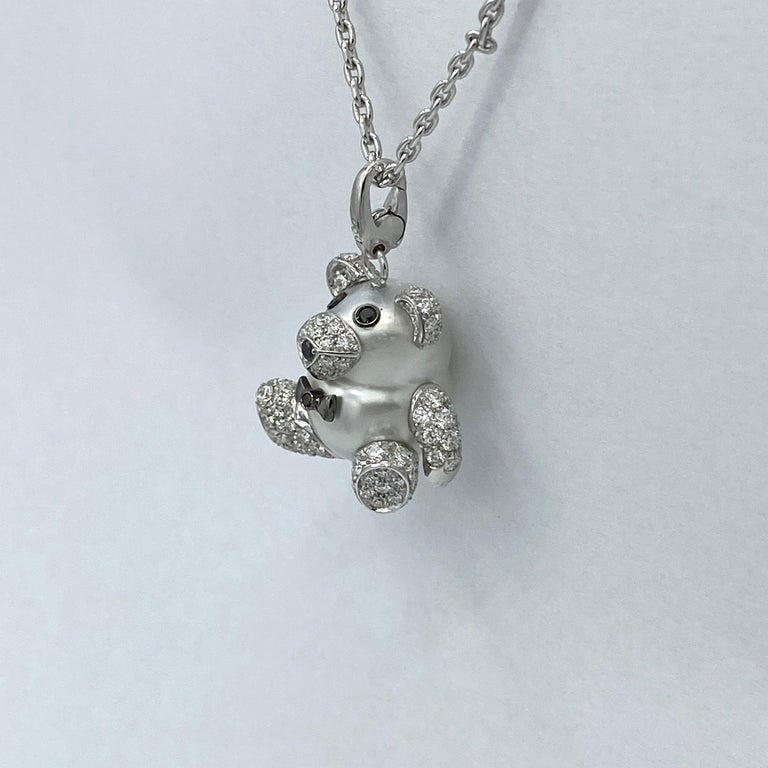 Teddy Bear Diamond Australian Pearl 18 Karat Gold Pendant Necklace Charm For Sale 7