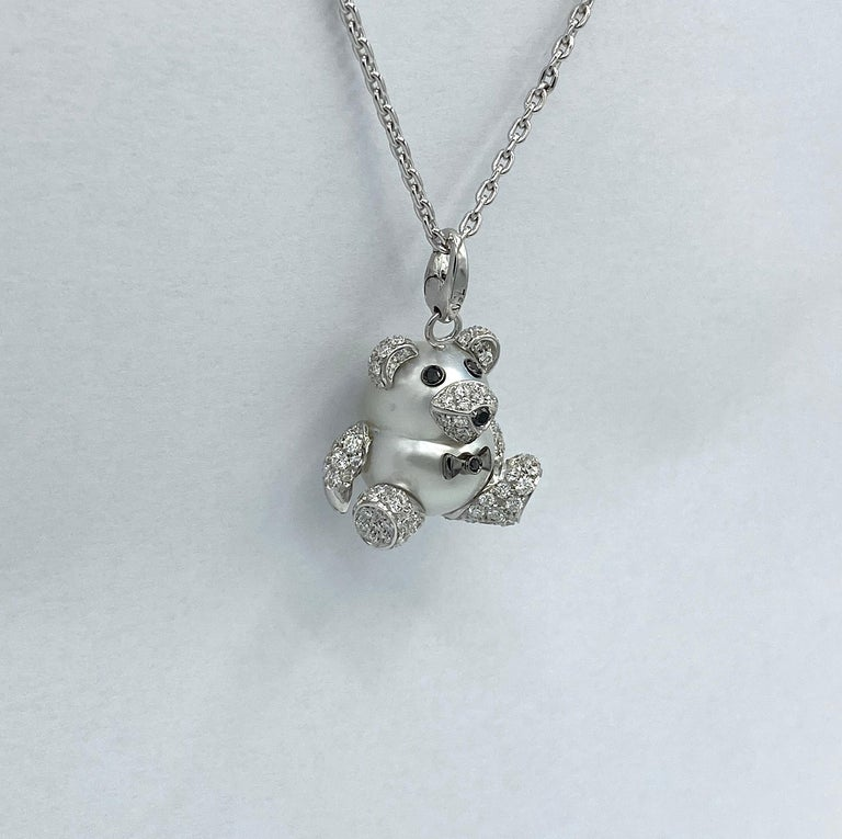 Teddy Bear Diamond Australian Pearl 18 Karat Gold Pendant Necklace Charm For Sale 8