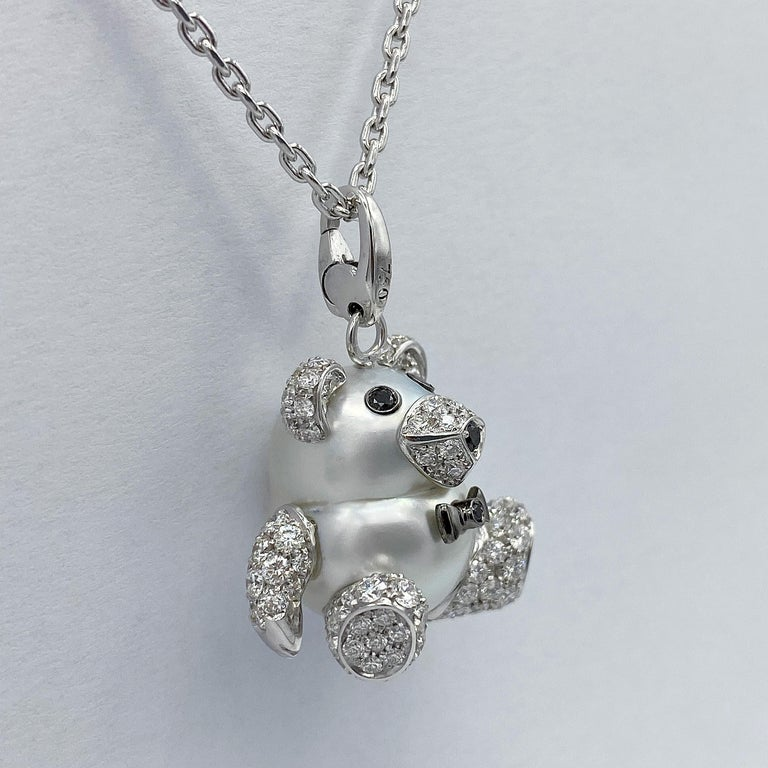 Teddy Bear Diamond Australian pearl 18KT Gold Animal Pendant Necklace Charm I chose a very beautiful and large Australian pearl to create the Teddy Bear pendant. I made ears, legs and nose in 18KT white gold set with white diamonds, G VS