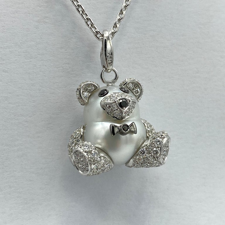 Artisan Teddy Bear Diamond Australian Pearl 18 Karat Gold Pendant Necklace Charm For Sale