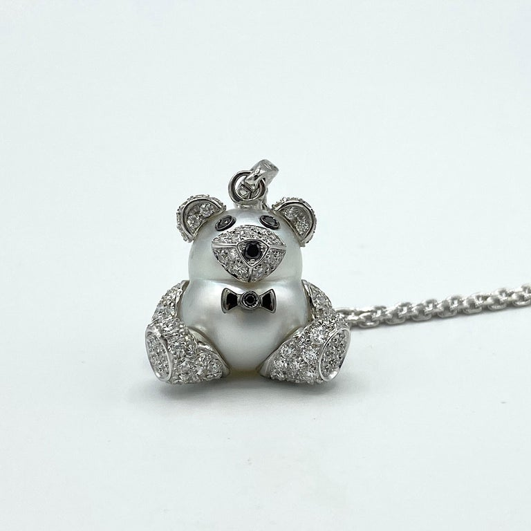Round Cut Teddy Bear Diamond Australian Pearl 18 Karat Gold Pendant Necklace Charm For Sale