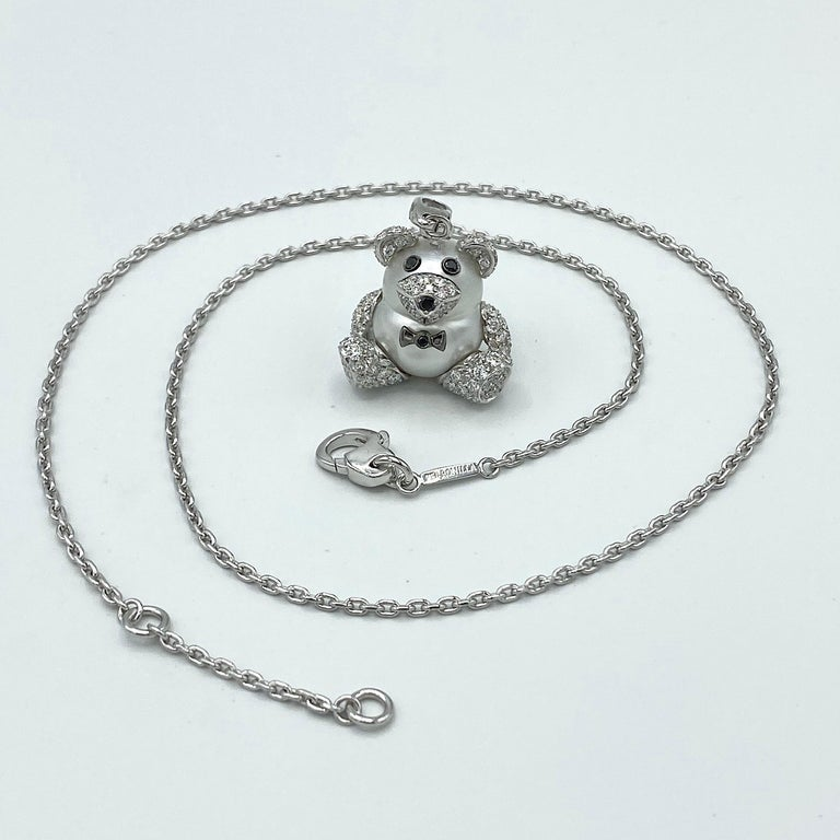 Teddy Bear Diamond Australian Pearl 18 Karat Gold Pendant Necklace Charm In New Condition For Sale In Bussolengo, Verona