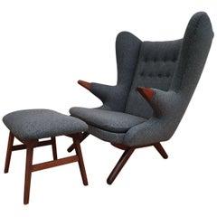 """""""Teddybear"""" Chair by Svend Skipper, 1960s, Wool, Teak Wood, Completely Restored"""