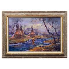 """Teepee Camp"" Original Oil by Hulan Fleming"