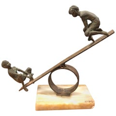 Teeter Totter / Seesaw Bronze Sculpture on Marble Base by C. Jere