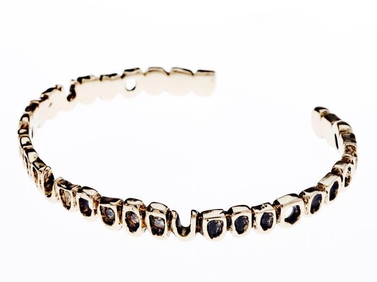 Contemporary White Diamond Teeth Arm Bangle Cuff Bracelet Bronze J Dauphin For Sale