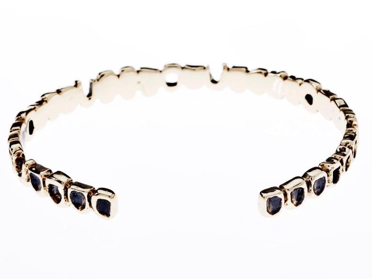 Round Cut White Diamond Teeth Arm Bangle Cuff Bracelet Bronze J Dauphin For Sale