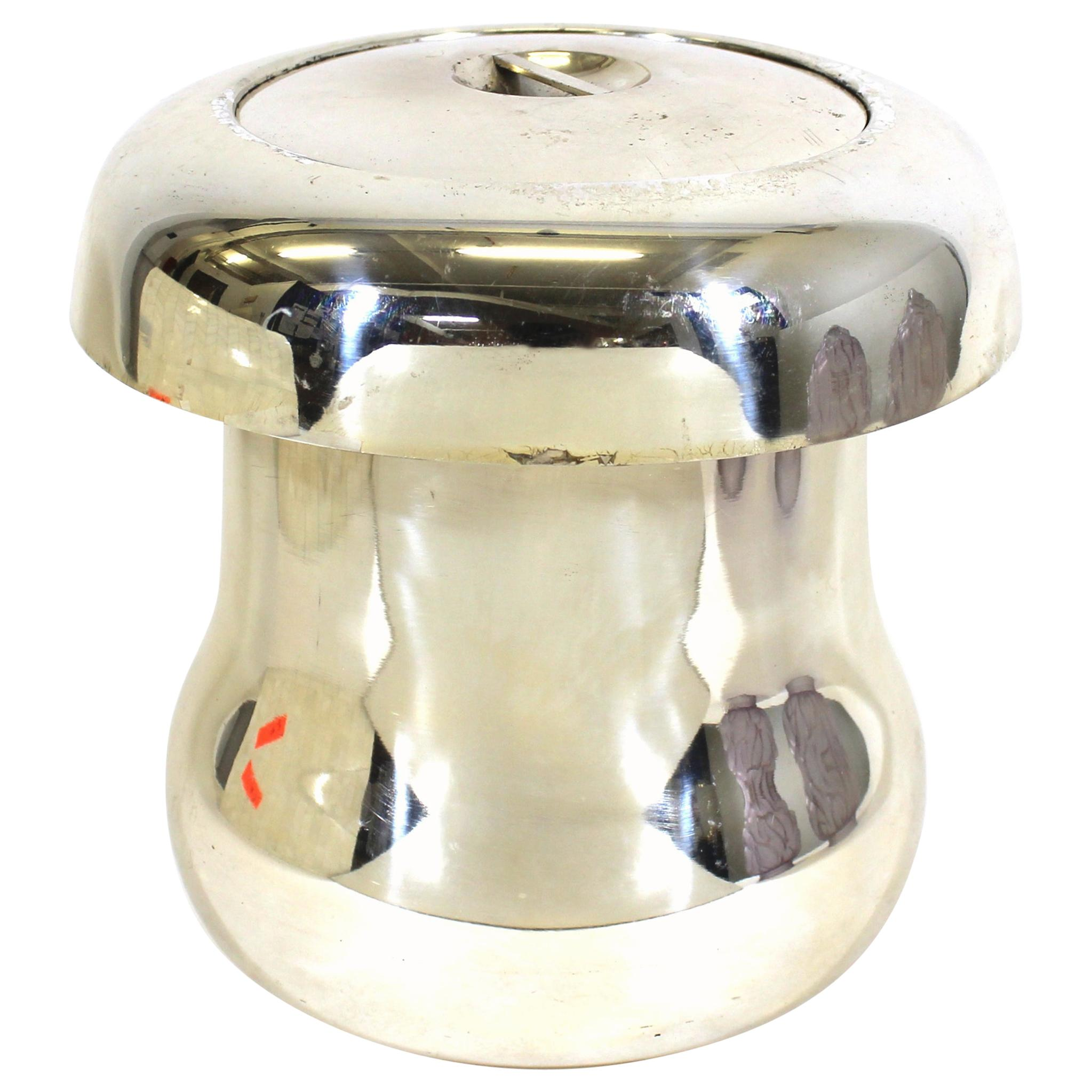 Teghini Italian Mid-Century Modern Silver-Plate Mushroom Ice Bucket