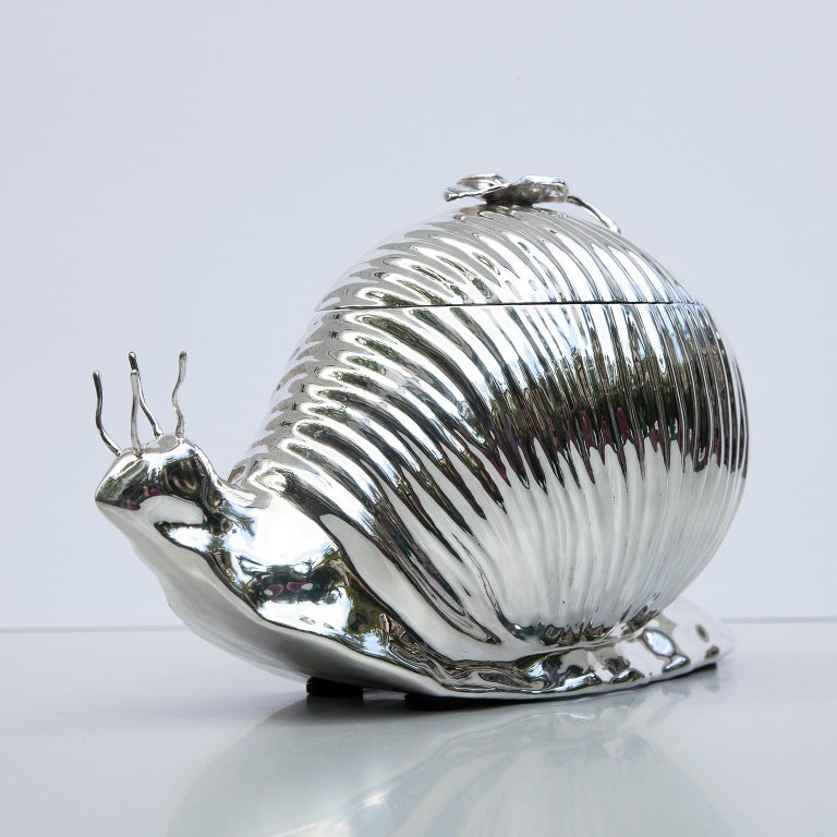 Hollywood Regency Teghini Silver Plated Snail Ice Bucket, Italy, 1977 For Sale