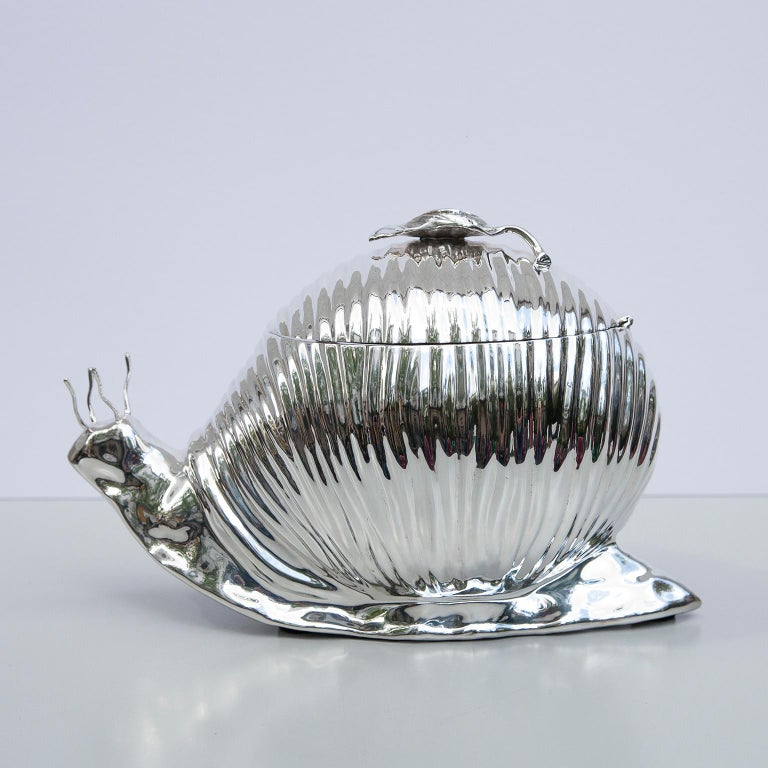 Teghini Silver Plated Snail Ice Bucket, Italy, 1977 For Sale 1