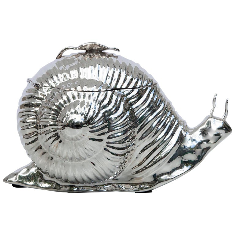 Teghini Silver Plated Snail Ice Bucket, Italy, 1977 For Sale