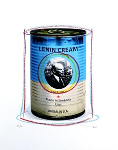 Tehos Lenin cream, Mixed Media on Paper